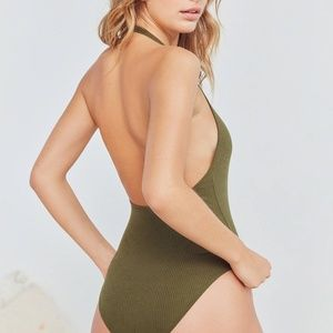 🍐 Out From Under Olive Green Halter Bodysuit